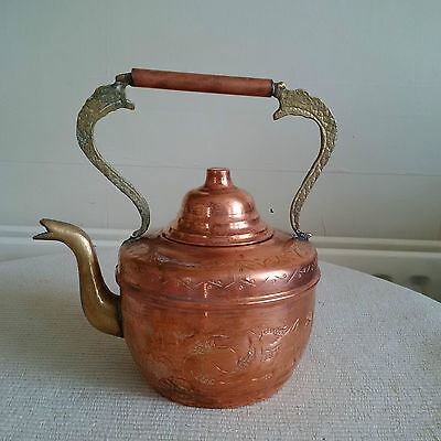 VINTAGE OLD COPPER and BRASS KETTLE