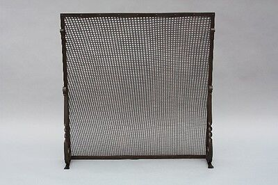 1920s Simple Spanish Revival Fire Screen Antique Wrought Iron Fireplace (8905)