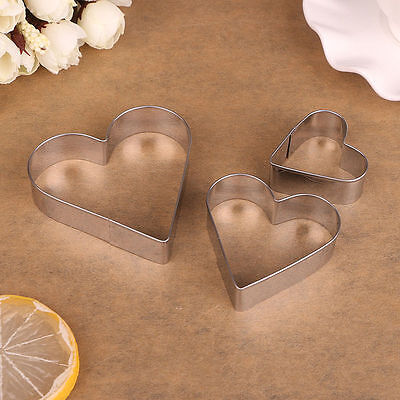 3 Piece Stainless Steel Heart Cookie Fondant Cake Pastry Mould Cutter Mold Set