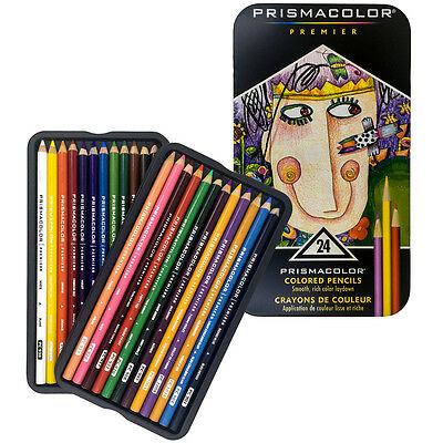 Prismacolor Premier Soft Core Colored Pencils 24 Colors Tin Set New
