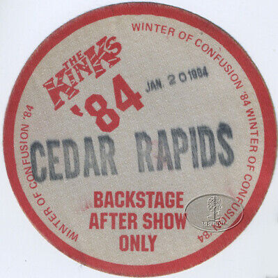 The KINKS 1984 Winter Of Confusion Tour Backstage Pass Cedar Rapids