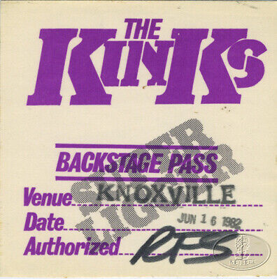 The KINKS 1981 Backstage Pass Knoxville Tennessee