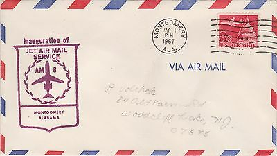 (USO-342) 1967 USA 8c inauguration of jet air mail service to Montgomery (342LM)