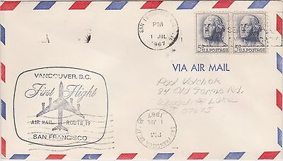 (USO-300) 1967 USA 10c 1st flight to Vancouver from San Francisco (300JY)