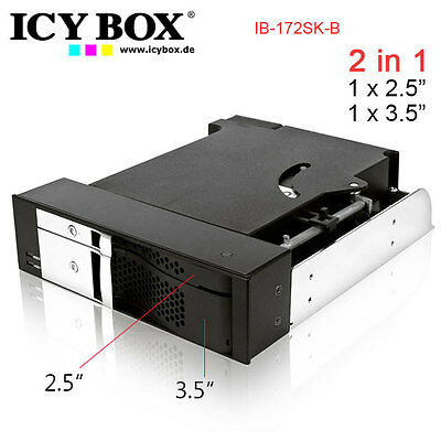 ICYBOX IB-172SK-B, TWO IN ONE, 2Bay Mobile Rack for 1x2.5 inc + 1x 3.5 inc SATA