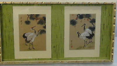 "Set Of2 Antique Chinese Original Watercolor Painting On Silk""cranes&trees""framed"
