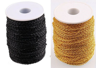 New Black / Gold Color 3M/10M Cable Open Link Iron Metal Chain Findings For DIY
