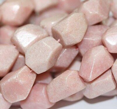 """14"""" Pink Opal Faceted Nugget  Beads 10x8mm Loose BIG"""