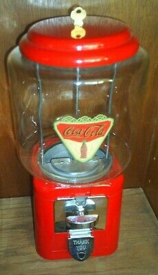 "VINTAGE- 1950's Coca Cola THEMED ""Oak"" Candy / guumball Machine Glass globe NICE"