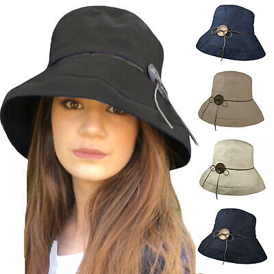 Ladies Womens Cotton Linen Blend Summer Sun Beach Travel Wedding Brimmed Hat Cap
