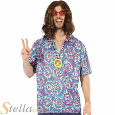Mens Hippy Hippie 60s 70s Groovy Psychedelic Fancy Dress Costume Shirt Necklace