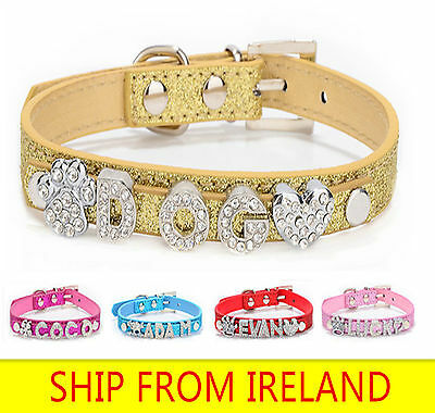 Dog Pet cat Collar PU Leather design DIY Personalized Name Rhinestone Charms