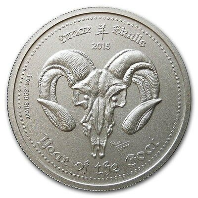 2015 Republic Of Ghana Year Of The Goat 1 oz .999 Silver BU Lunar Skulls Coin