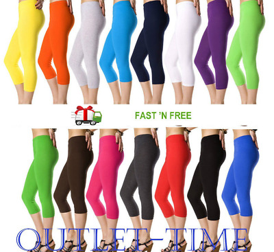 Ladies Leggings Cotton Capri Cropped Length High Quality Fitness Sizes Colors