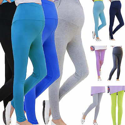 Maternity Pregnancy Full Length Stretch Leggings Over Bump Belly Pants Trousers