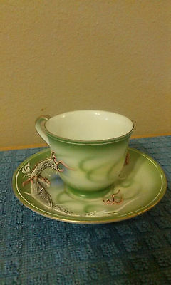 Vintage Japan Dragonware FleetWood Green Teacup & Saucer Hand Painted