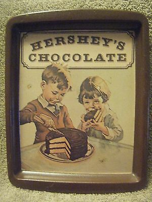 Vintage 1982 Hersheys Chocolate Serving Tray With Boy, Girl and Chocolate Cake