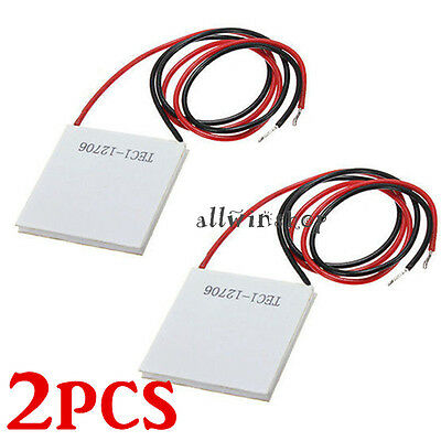 2pcs 12V 60W TEC1-12706 Heatsink Thermoelectric Cooler Peltier Cooling Plate USA