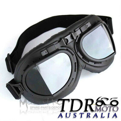 Red Baron Motorcycle Harley Goggles for Open Face Helmets Aviator Flying Style