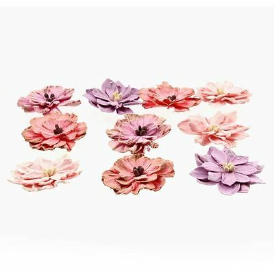 Hobbycraft Pink Paper Flowers Craft Embellishments Colours Card Making 10 Pack