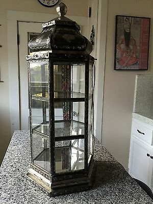 """Moroccan 30"""" Vintage Lighted Display Curio Case Cabinet Hand Hammered Metal Tin"""