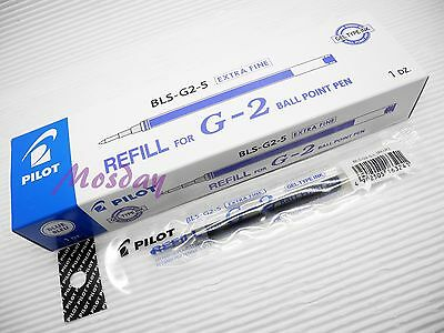 12pcs Pilot BL-G2-5  Roller Ball Pen Refills Gel Ink 0.5mm, BLUE