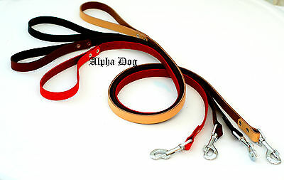 """Real leather Dog Leash With Brass Trigger Hook 125 cm/50"""" long"""