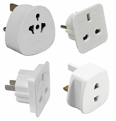 Universal Travel Holiday Mains Adaptors Plug | UK To EU Europe 2 Pin Plug White