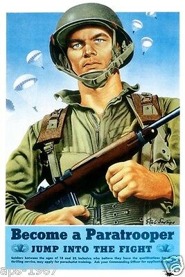 WW2 101st 82nd Airborne Easy D-Day USA Become a Paratrooper Recruitment Poster