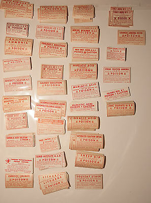 34 Assorted Apothecary Paper Poison Labels All Different Skull Crossbones Acid