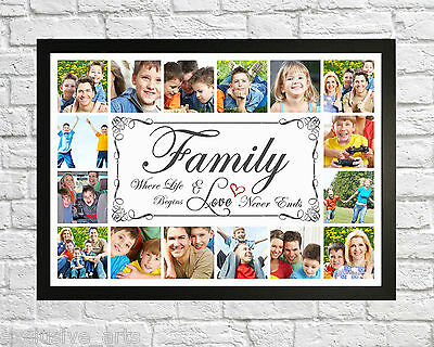 Photo/Picture Family Collage Montage Framed Print - Personalised Gift Frame
