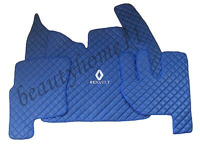 Set of Floor Mats Covers For NEW RENAULT T AUTOMAT RHDrive BLUE Eco Leather