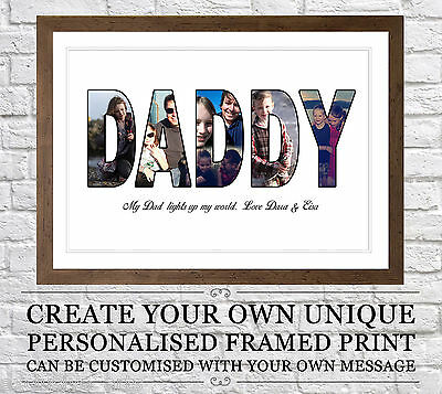 Fathers Day Personalised Gift - Photo/Picture Collage Montage Framed Print
