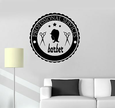 Vinyl Decal Barber Logo Hair Salon Hairdresser Barbershop Wall Stickers (ig3563)