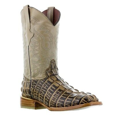 Mens Rustic Sand Crocodile Tail Leather Western Cowboy Boots Riding Square