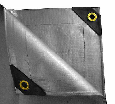 12 mil Heavy Duty Canopy Tarp SILVER 3ply Coated Tent Car Boat Cover(10$ off 2+)