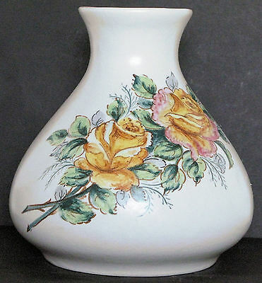 Vintage Axe Vale bulbous vase with hand-painted roses. 17 cm high x 17 cm circum