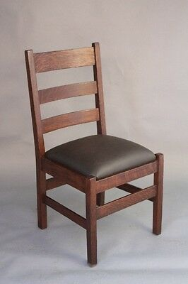 1910 Arts & Crafts Mission Charles Stickley Side Chair Craftsman Antique (8453)