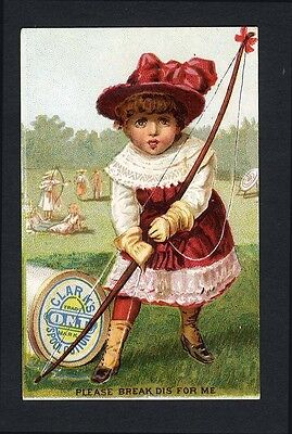 Little Girl - CLARK'S O.N.T. Spool Cotton Trade Card 1880's - SEWING THREAD