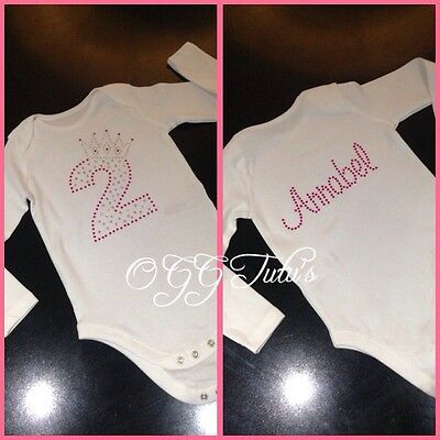 2nd birthday personlised baby girls bodysuit vest onesie tutu  rhinestone
