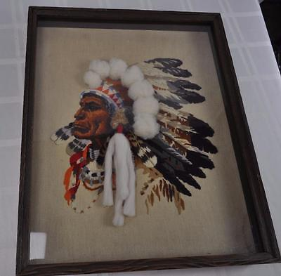 Large Native American Chief Crewel Embroidery in Shadow Box Frame