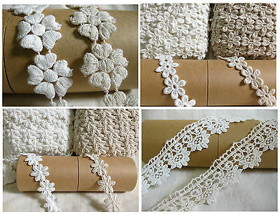 vintage white & cream flower cotton sewing lace for women dress crafts 1 yard