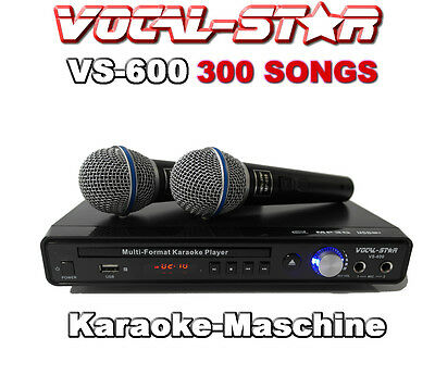 Karaoke-Maschine -Player Anlagen CDG,2 Mikrofone 300 Songs Vocal-Star VS600
