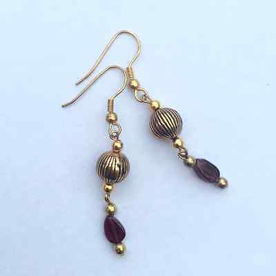 Garnet gold plated dangly earrings Irish made jewellery gift nickel free wires