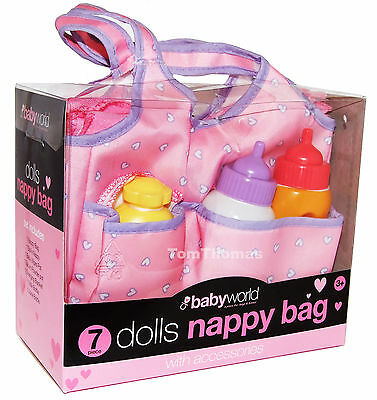 Kids 7 Piece Dolls Nappy Bag With Accessories New
