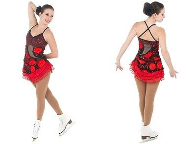 New Competition Skating Dress Elite Xpression 1402 Black Red Flowers AS SMALL