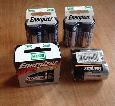 New never used Vintage Hess Truck Energizer C Batteries 4  - 2 packs sealed
