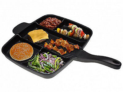 "MasterPan Non-Stick Divided Grill/Fry/Oven Meal Skillet, 15"", BLACK"