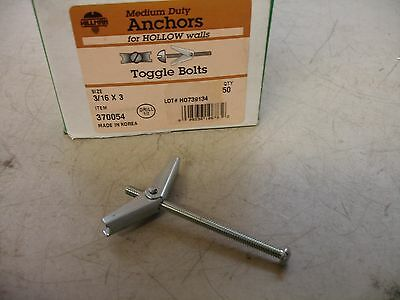 The Hillman Group 370054 Toggle Bolt, 3/16 X 3-Inch, 50-Pack
