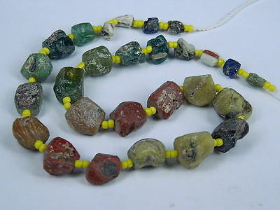 Ancient Fragment Glass Beads Strand Roman 200 BC   #BE1289